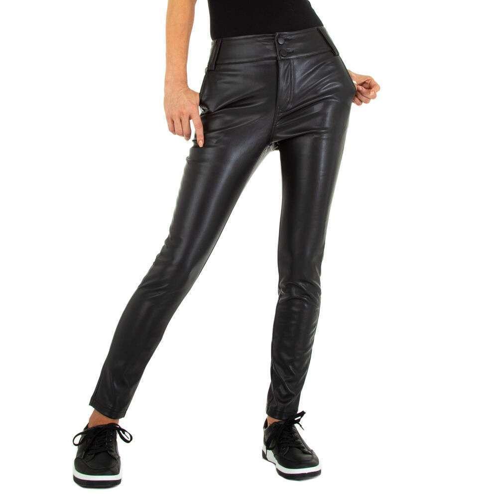 Pantaloni cu aspect de piele pentru femei marca Metrofive - neagră