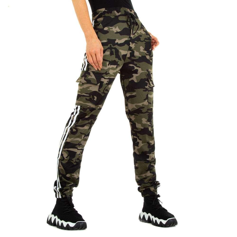 Pantaloni boyfriend pentru femei marca Holala - verde armată