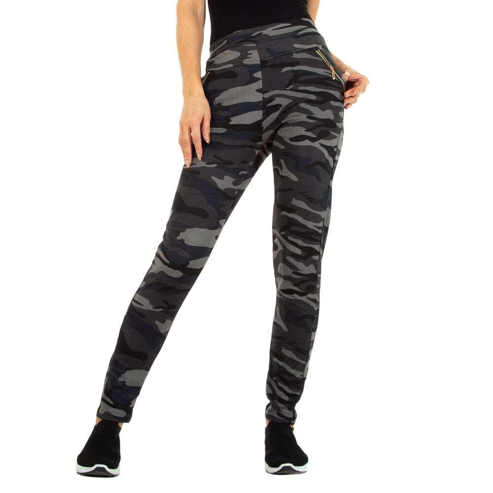 Pantaloni boyfriend pentru femei marca Holala - gri armată