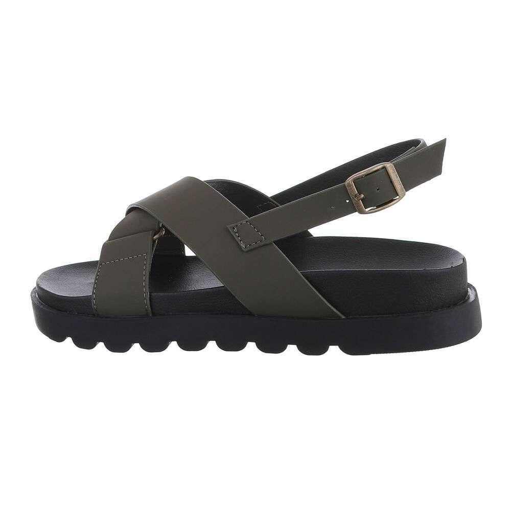 Sandale plate pentru dame - verde