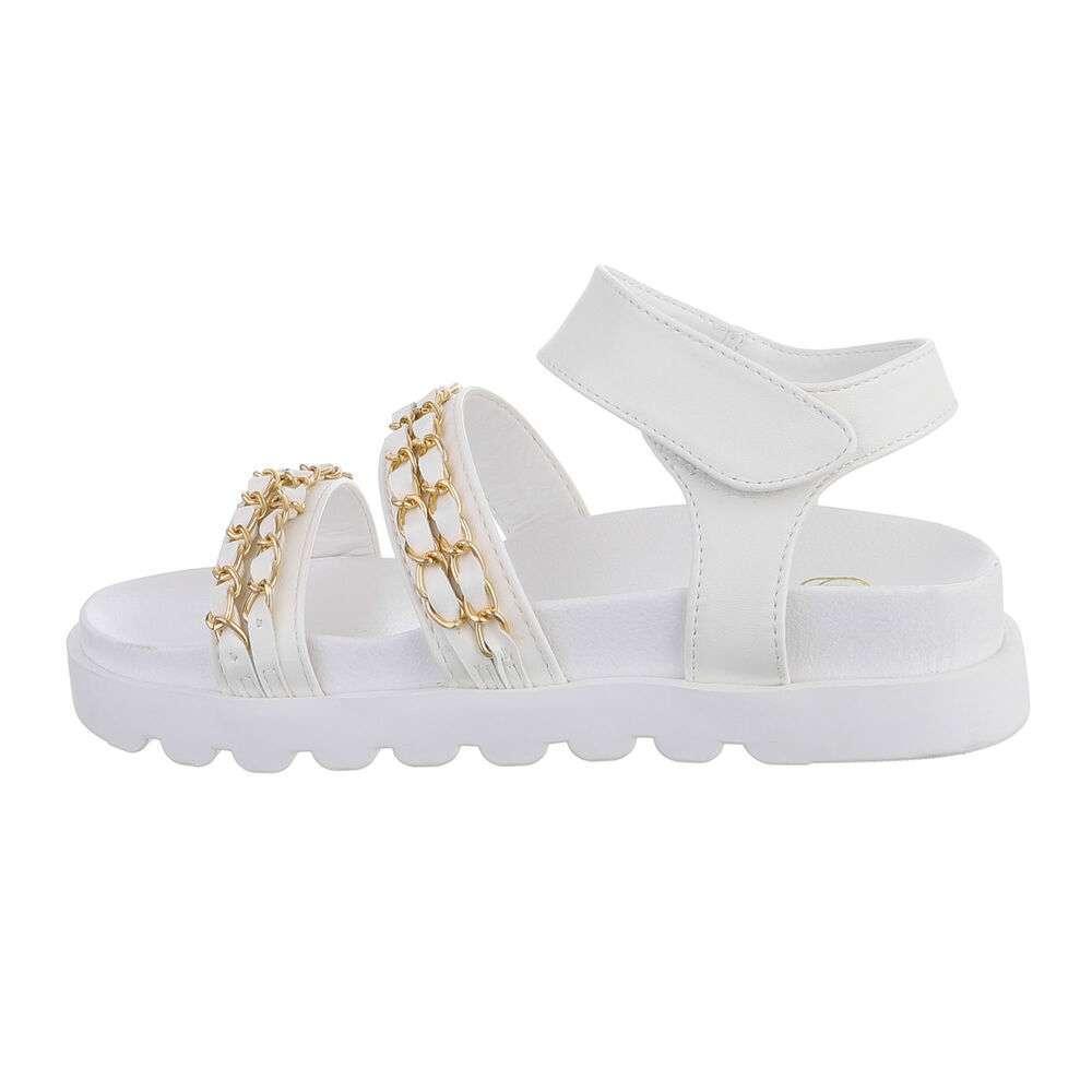 Sandale plate pentru dame - alb