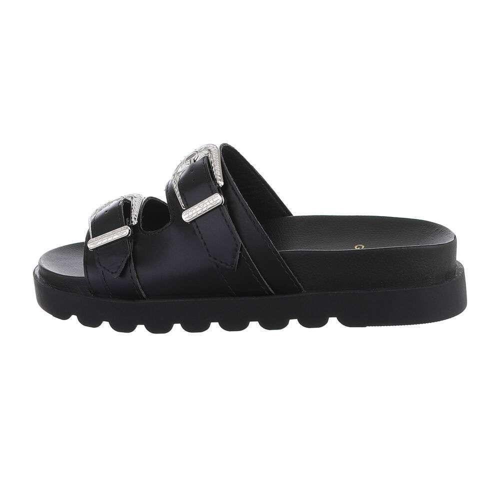 Sandale plate pentru dame - negru