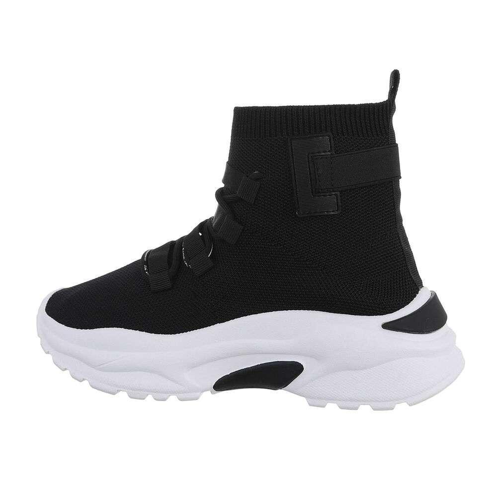 Pantofi sport înalți - alb-negru