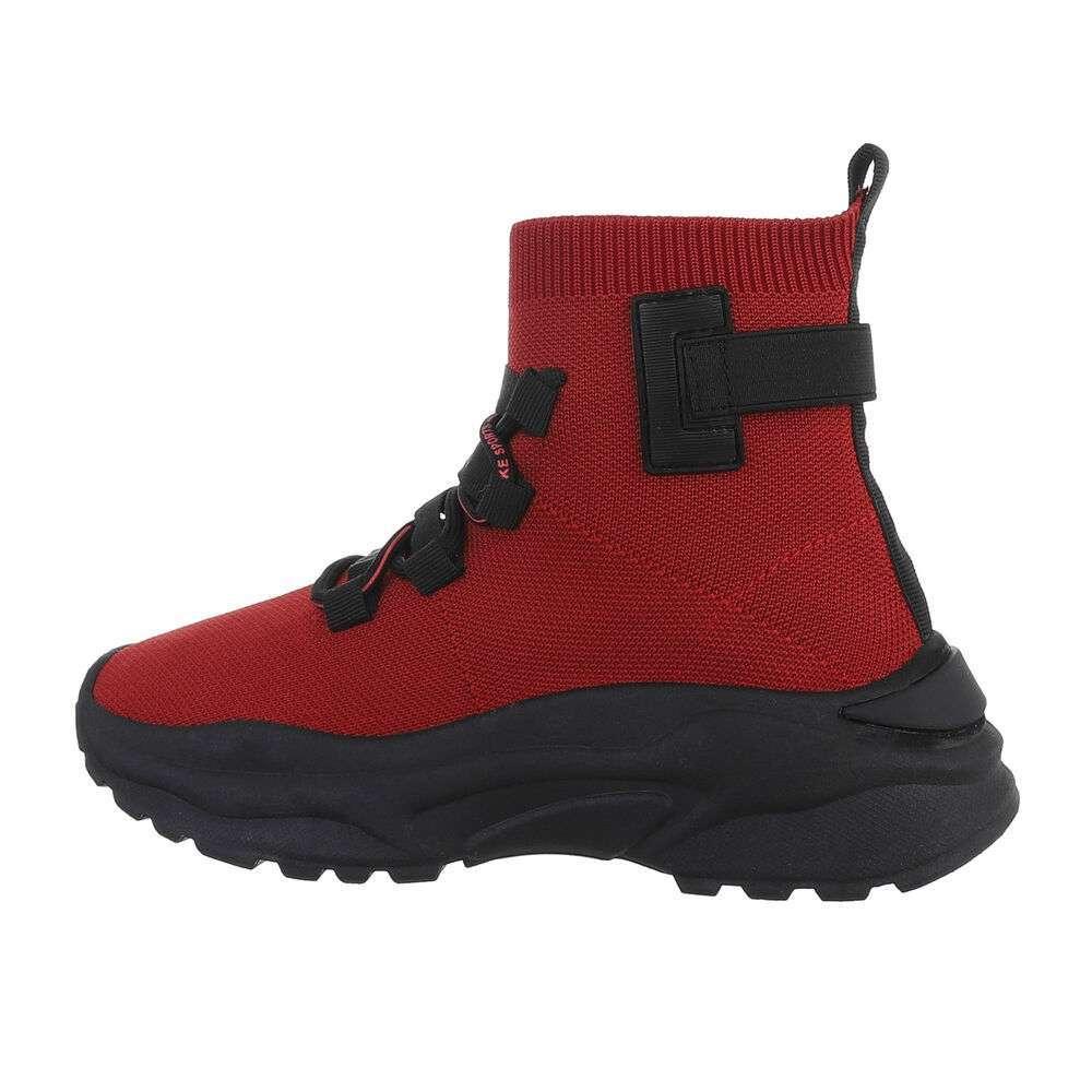 Pantofi sport înalți - rosu-negru