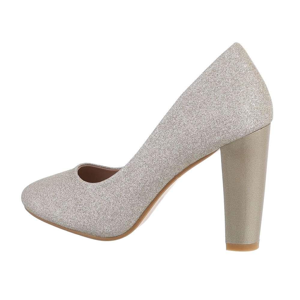 Pantofi cu toc înalt pentru dame - auriu