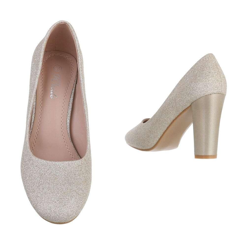 Pantofi cu toc înalt pentru dame - auriu - image 3