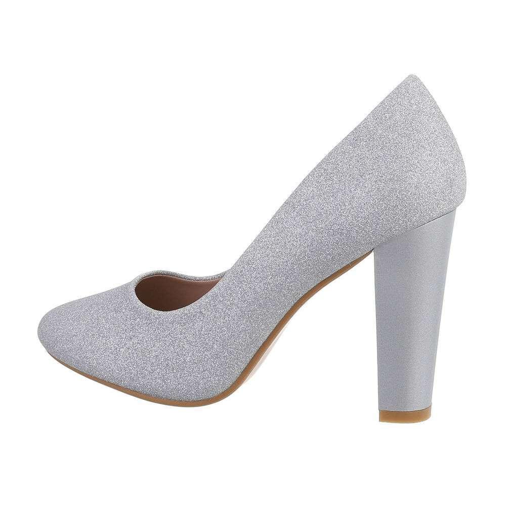 Pantofi cu toc înalt pentru dame - argintiu
