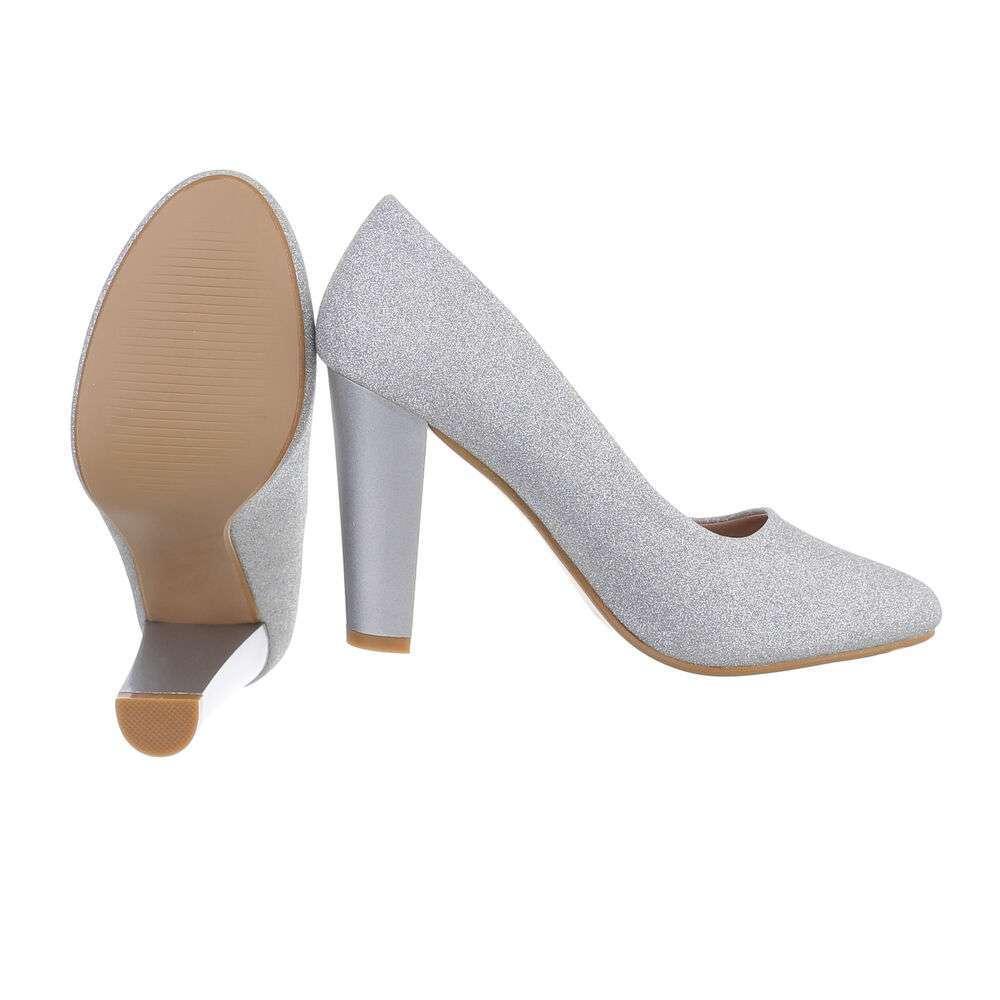 Pantofi cu toc înalt pentru dame - argintiu - image 2