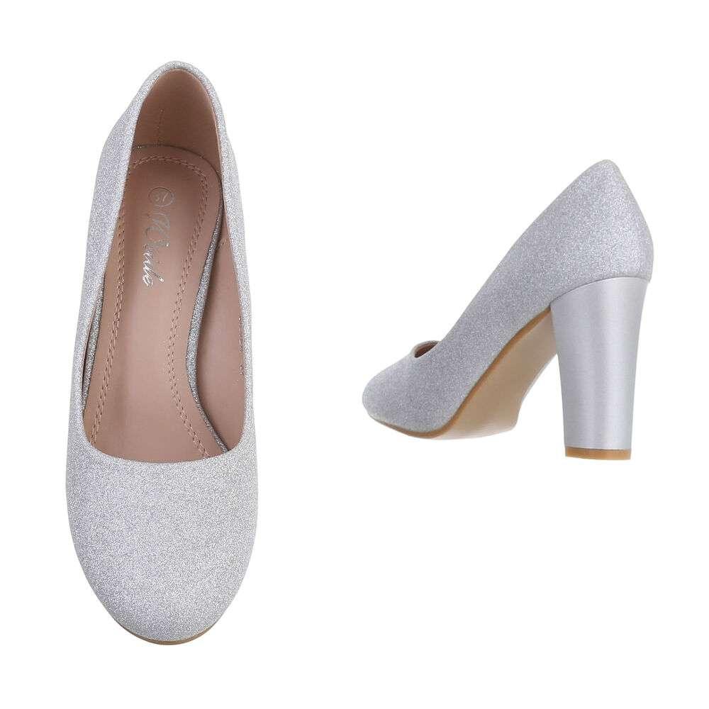 Pantofi cu toc înalt pentru dame - argintiu - image 3