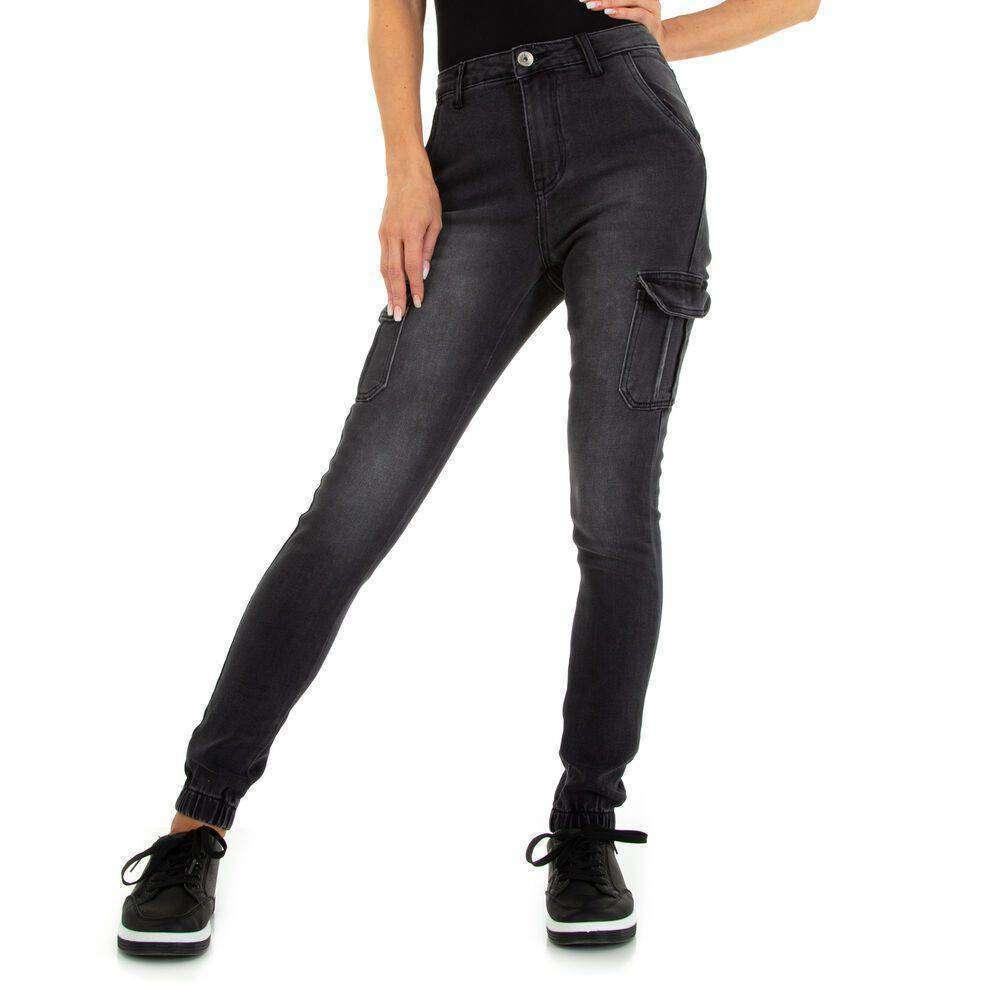 Blugi cu talie înaltă pentru dame marca M.SARA - negru