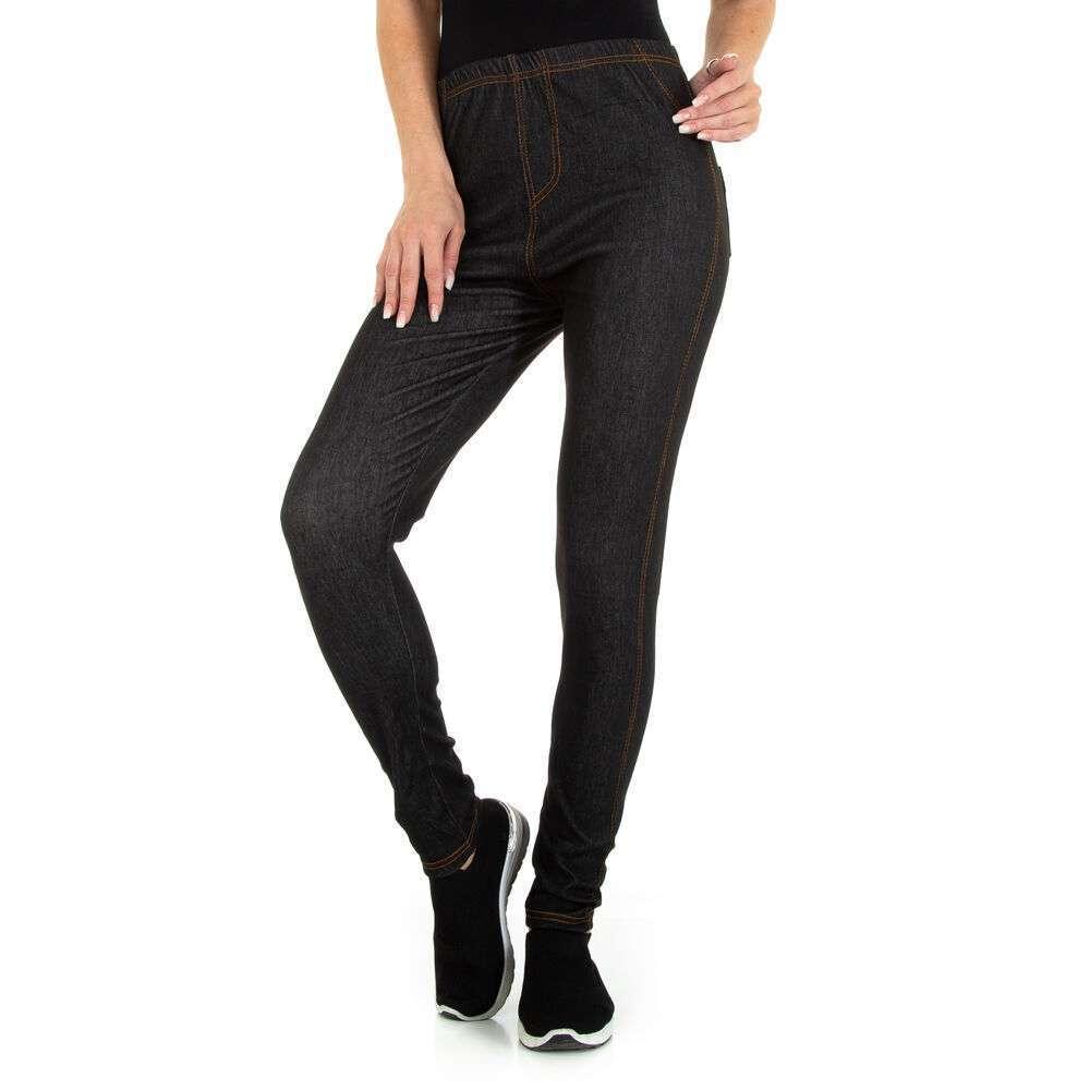 Jambiere cu aspect de jeans pentru dame marca Holala - negru