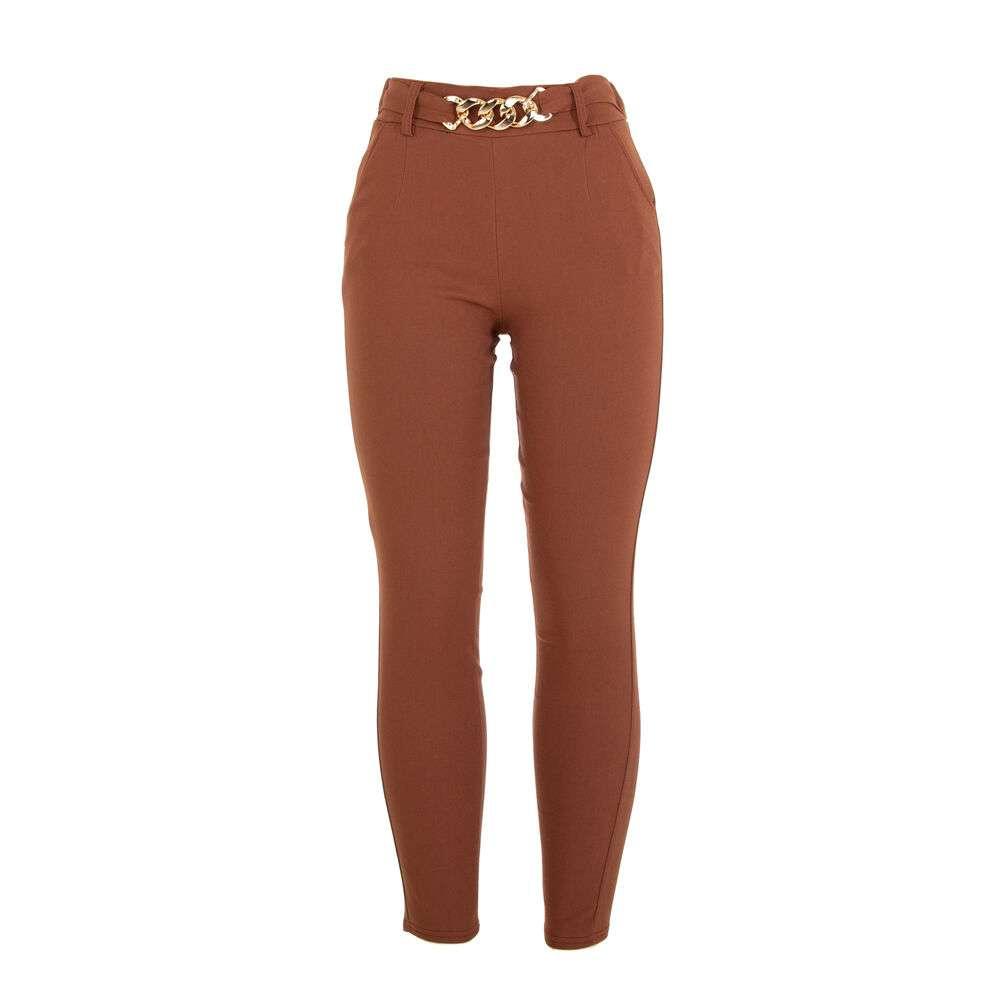 Pantaloni din stofă pentru dame marca Holala - cafeniu