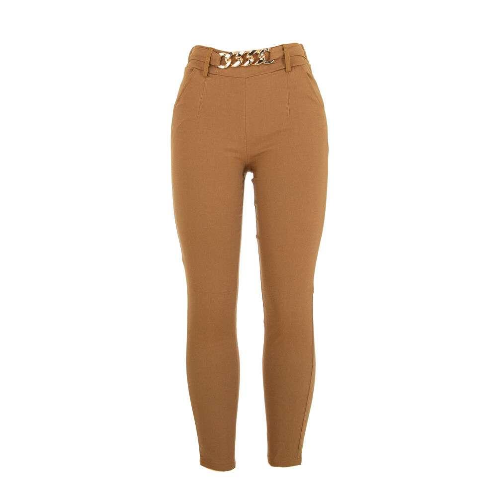 Pantaloni din stofă pentru dame marca Holala - camel