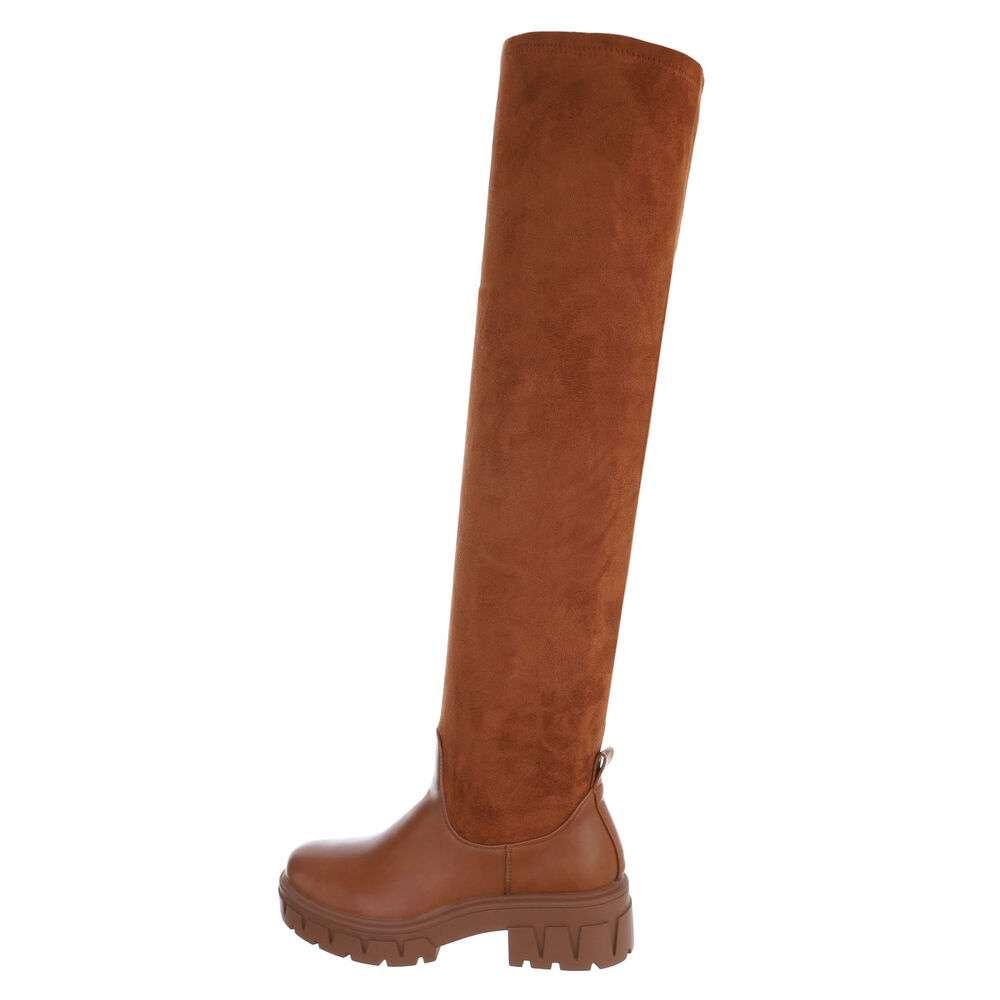 Cizme peste genunchi pentru damă - camel