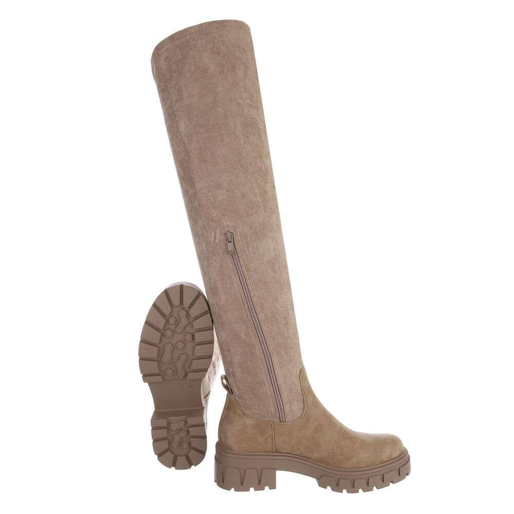 Cizme peste genunchi pentru damă - khaki - image 2