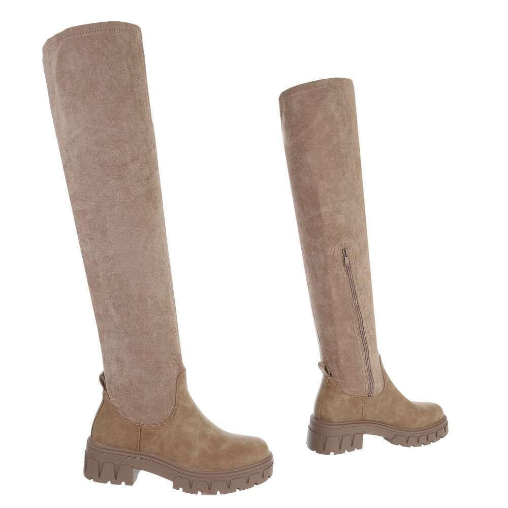 Cizme peste genunchi pentru damă - khaki - image 3