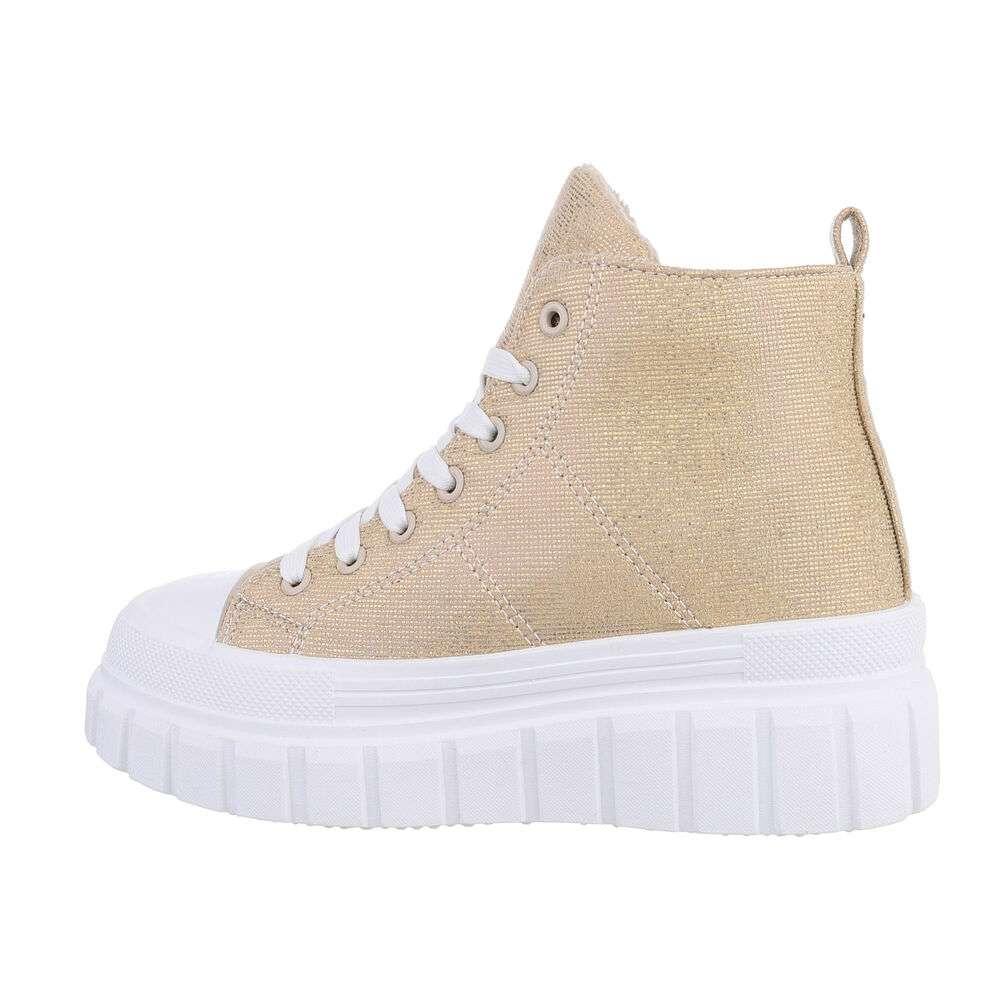 Pantofi sport înalți pentru dame - beige