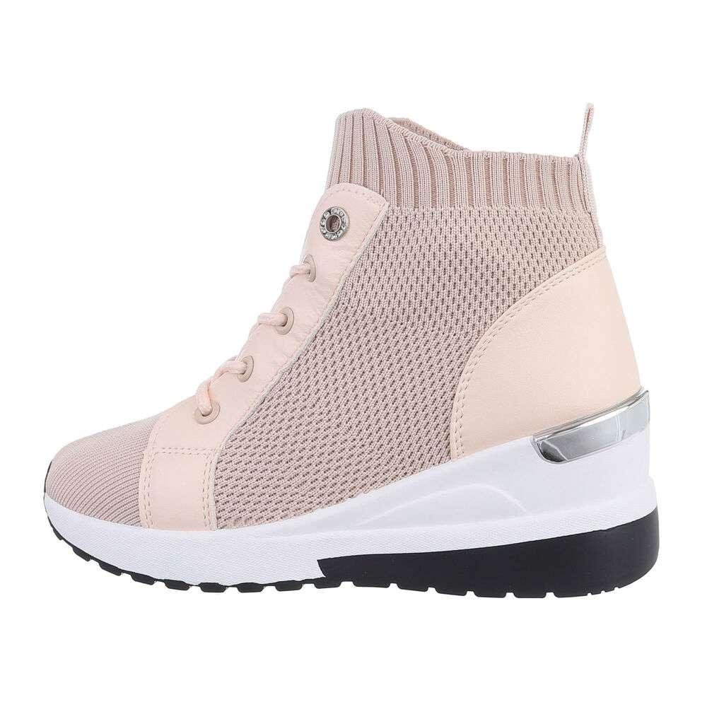 Pantofi sport înalți pentru dame - pink