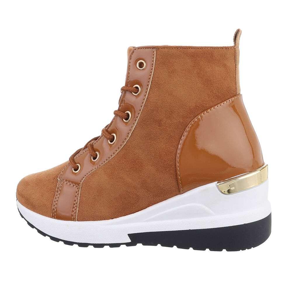 Pantofi sport înalți pentru dame - camel
