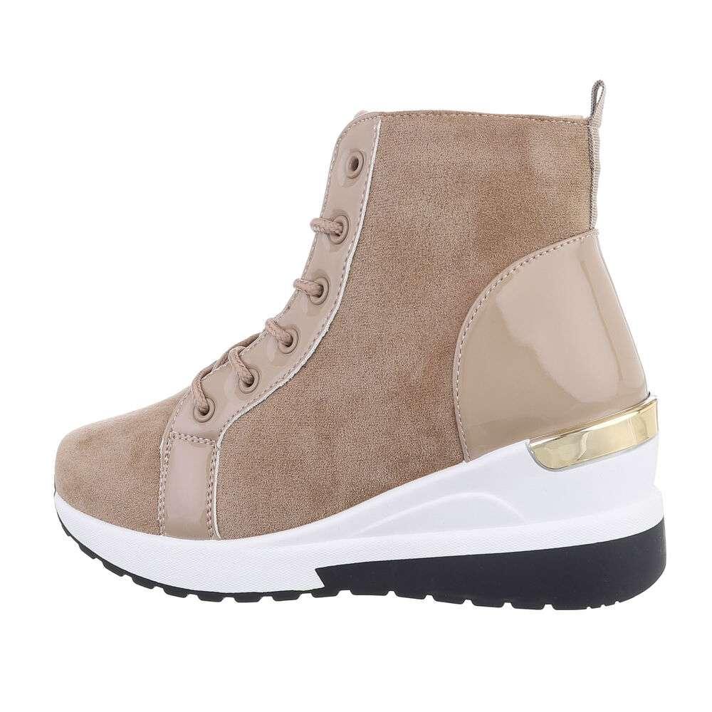 Pantofi sport înalți pentru dame - khaki