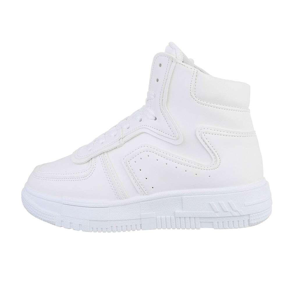 Pantofi sport înalți pentru femei - albe