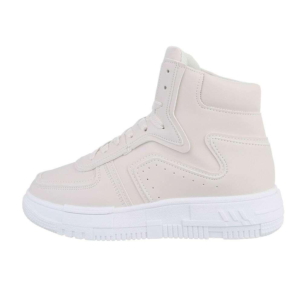 Pantofi sport înalți pentru femei - bej